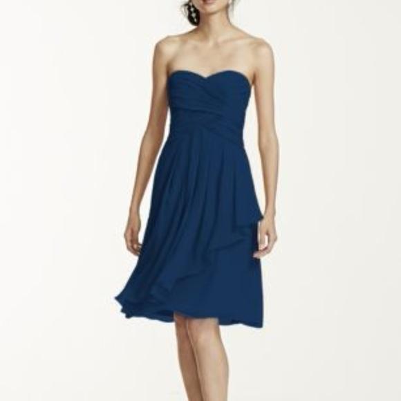 6b9090fd350a David's Bridal Dresses & Skirts - Short Crinkle Chiffon Dress with Front  Cascade